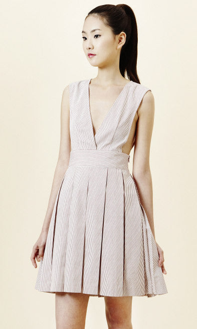 White pleated summer dress with red stripes