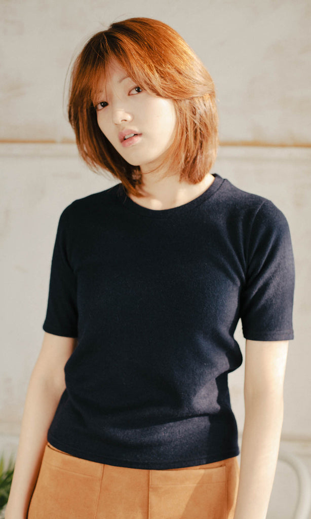 Sloane short sleeve fitted knit navy