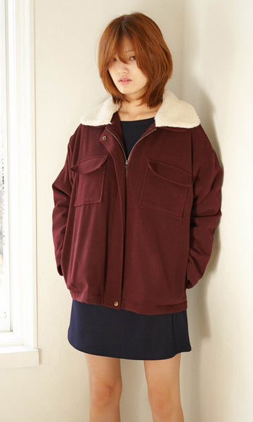 Functional patch pocket burgundy jacket