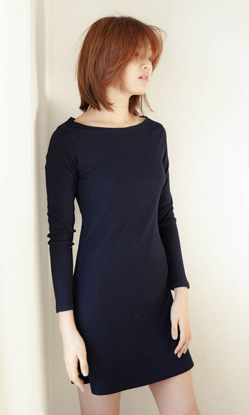 Francoise boat neck long sleeve ribbed dress navy