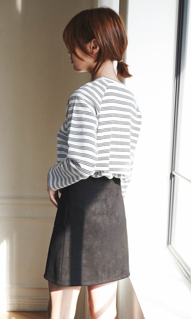 Douzieme buttoned skirt with pockets black