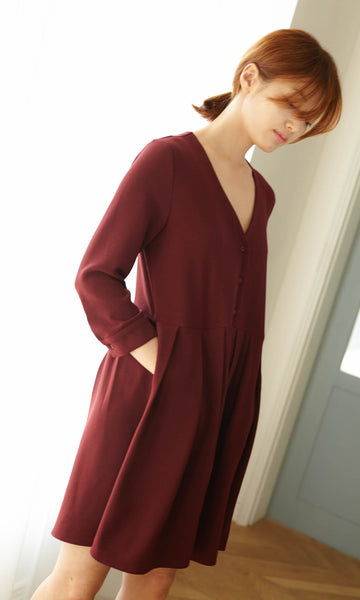 Lorette pleat shirt dress