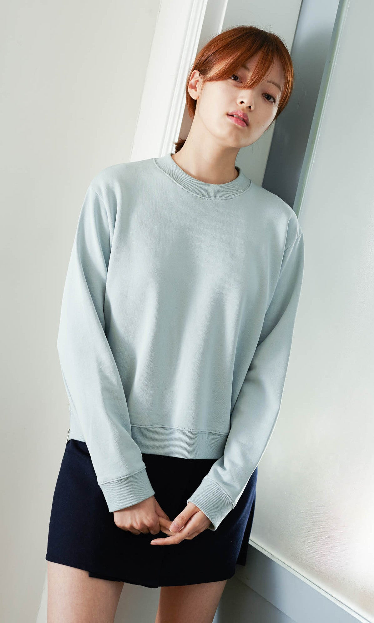 Hannam cropped zipped sweater ice blue
