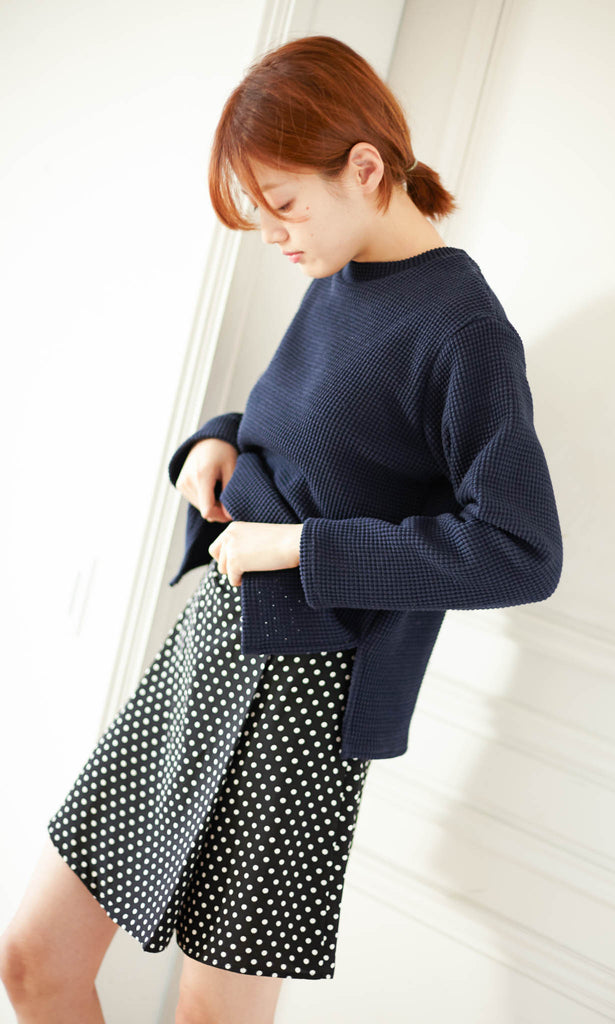 College waffled sweater navy