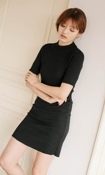 Ally high neck ribbed black dress (textured)