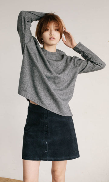 Alexa crew neck oversize knit grey