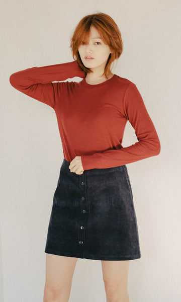 New Basic long-sleeve ribbed brick top