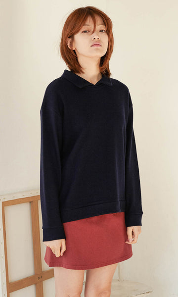 Georgia point collar knit navy