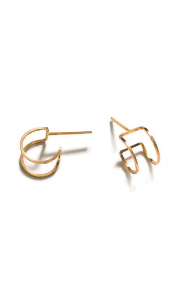 Squared wrap hoops gold