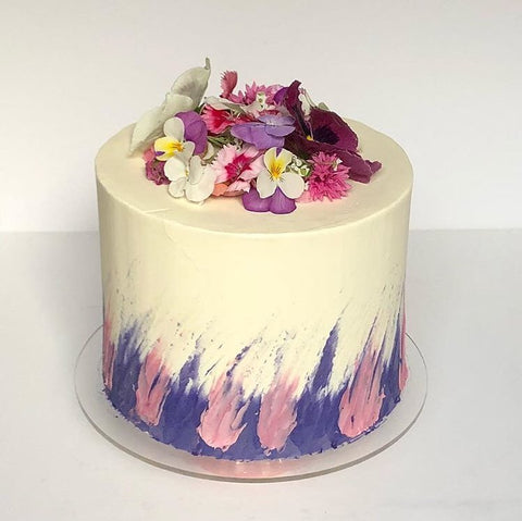 Brushstroke cake with edible flowers (From £75)