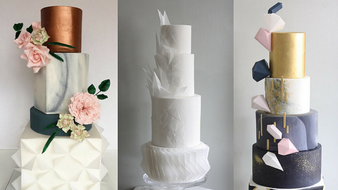three different wedding cakes all tiered