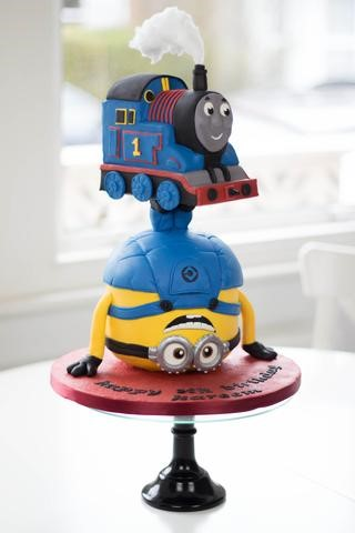 Thomas the Tank Engine and Minion Cake