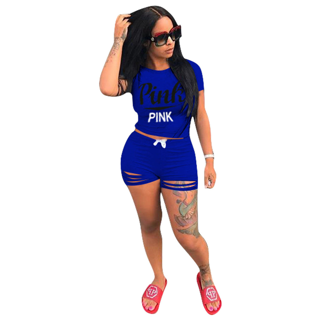 Womens Letter Print Outfits Short Sleeves 2 Piece Set t-shirt - sportinglifes