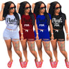 Image of Womens Letter Print Outfits Short Sleeves 2 Piece Set t-shirt - sportinglifes