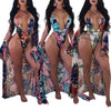Image of Women's Swimsuits Deep V-Neck Floral Print One-Piece Swimwear With Cover Up - sportinglifes