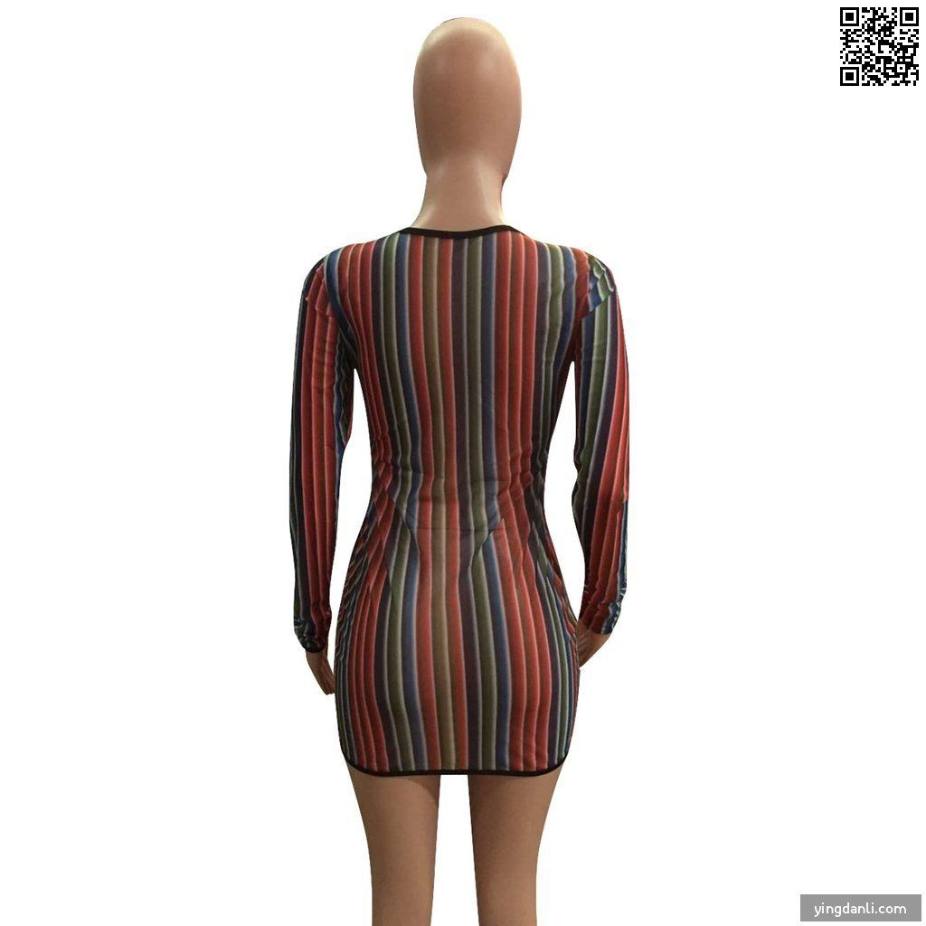 Multi color O-Neck Long Sleeve Dresses - sportinglifes