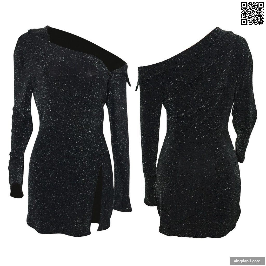 Sparkly Black Dress One Shoulder Long Sleeve Mini Short Casual Stripper Dress - sportinglifes