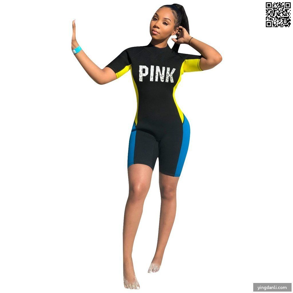 Fashion Pink Letter Print short sleeve Swimsuit One Piece - sportinglifes