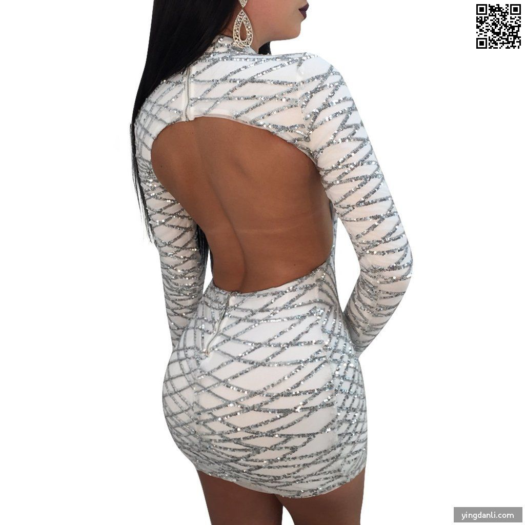 Women's Casual Long Sleeve Backless Dress - sportinglifes