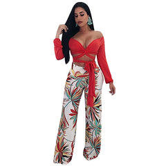 Womens Casual Printed Flat Wide Leg Pants with Fake Zippers