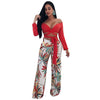 Image of Womens Casual Printed Flat Wide Leg Pants with Fake Zippers - sportinglifes