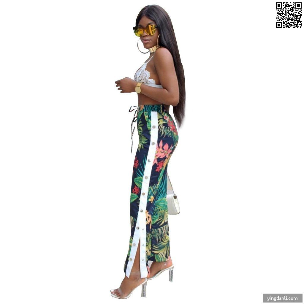 High Waist  High Split Floral Print Trousers - sportinglifes