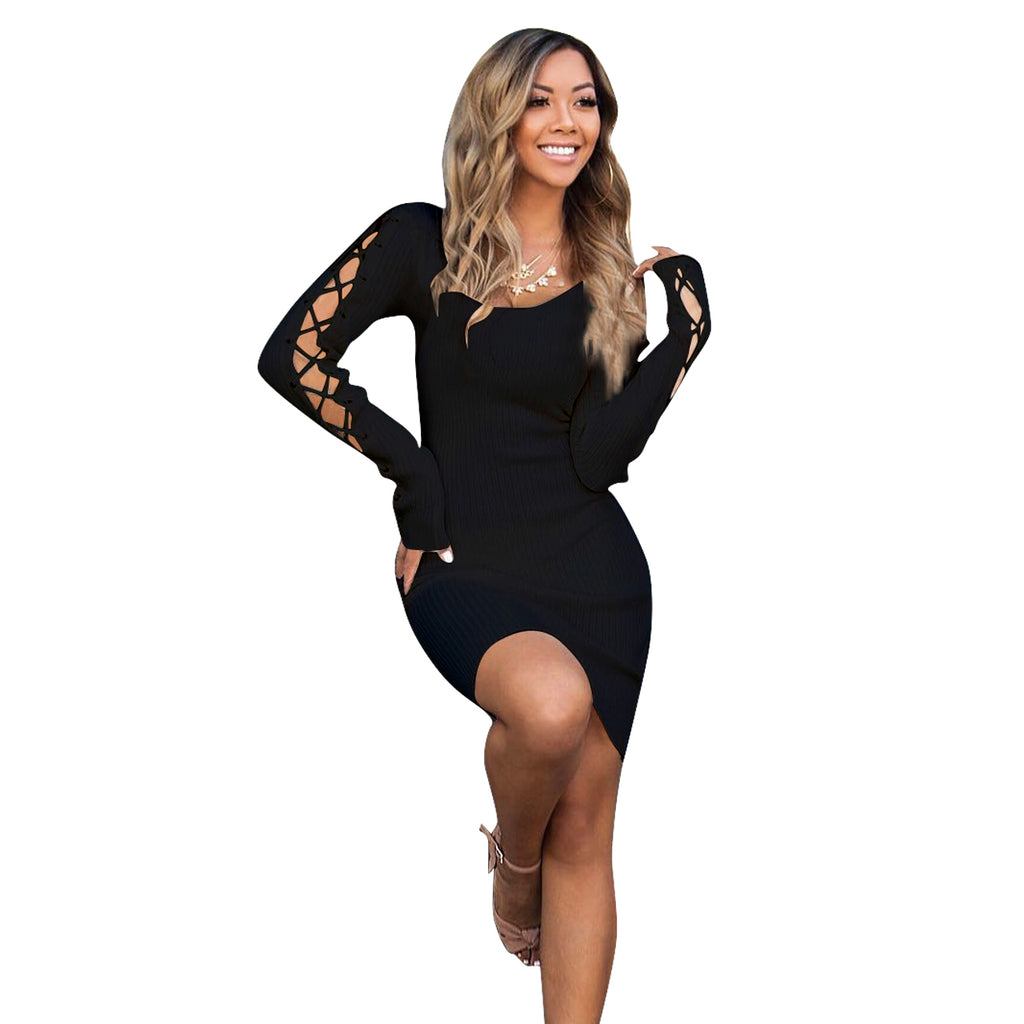 Women's Sexy Long Sleeves Lace up A-Line Short Skirt Black Club Dress - sportinglifes