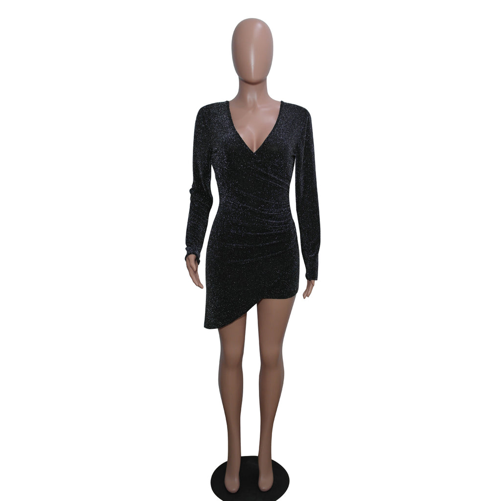 Women's Sexy V Neck Long Sleeve Sequins Bodycon Club Party Mini Dress - yingdanli.1