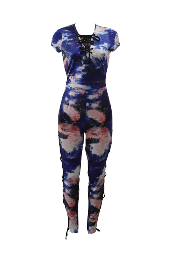 Women's Sexy Print Casual Jumpsuits 2 Pieces Rompers - sportinglifes