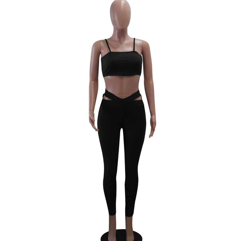 Women's Solid Color  Bodycon Yoga Two Pieces Set - sportinglifes