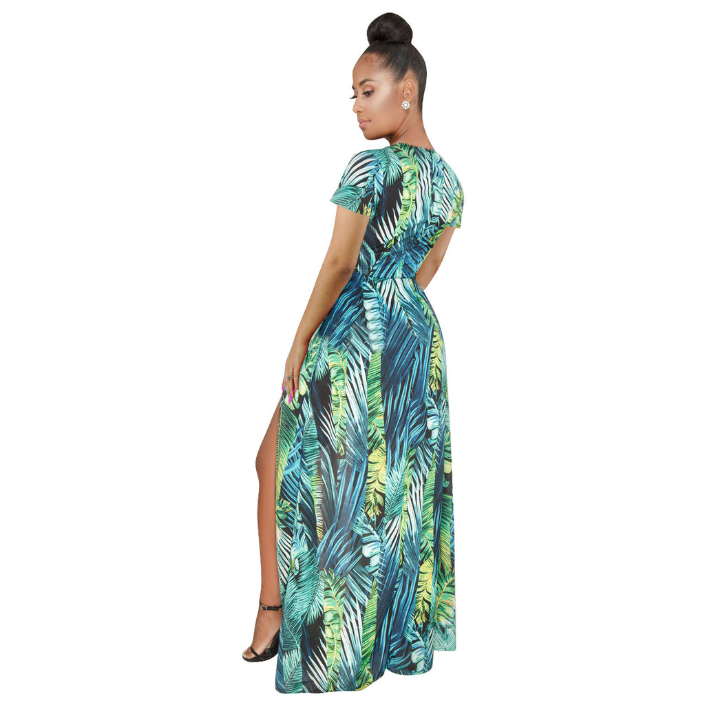 Women's V Neck Floral Maxi Dress Overlay Rompers Jumpsuit - yingdanli.1