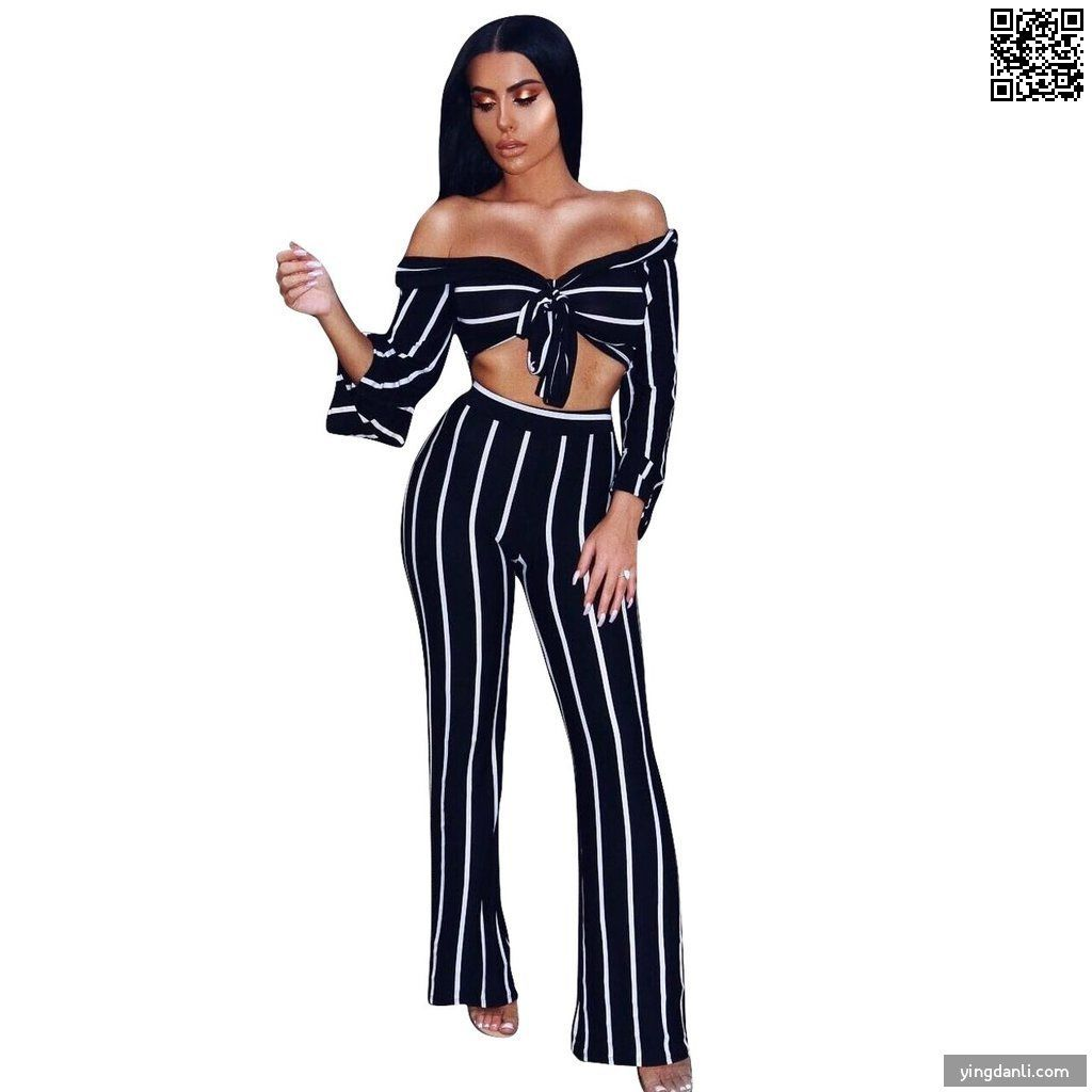 Women's Black Casual Long Sleeves Lace up Two Pieces Outfits - yingdanli.1