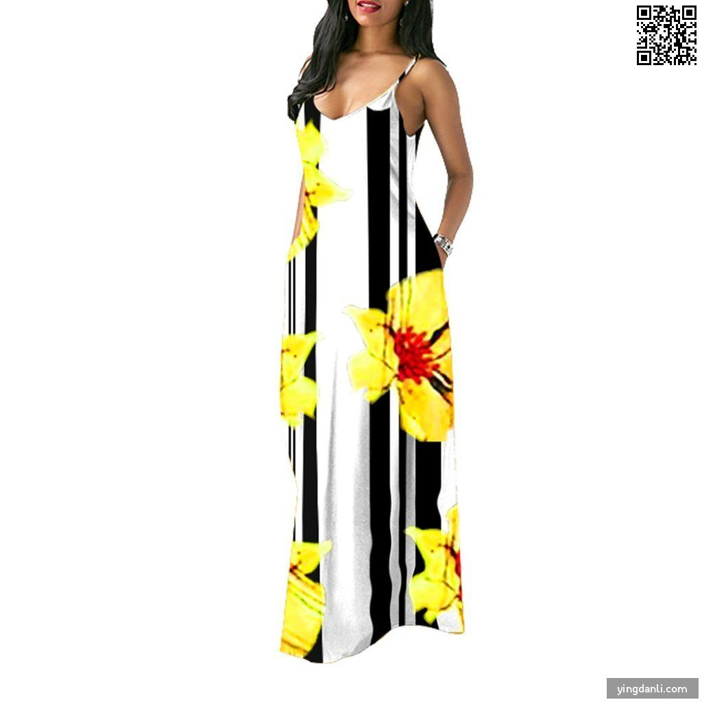 Women Floral Maxi Dress Boho Printed Adjustable Straps V Neck Summer Beach Dress - yingdanli.1