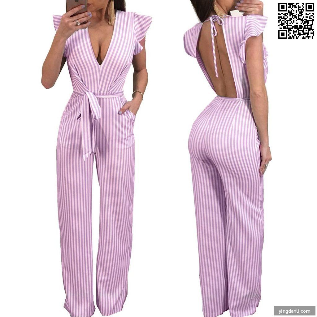 Women V Neck Striped Jumpsuit Ruffle Sleeves Backless Long Pants Romper Outfits with Belt - sportinglifes