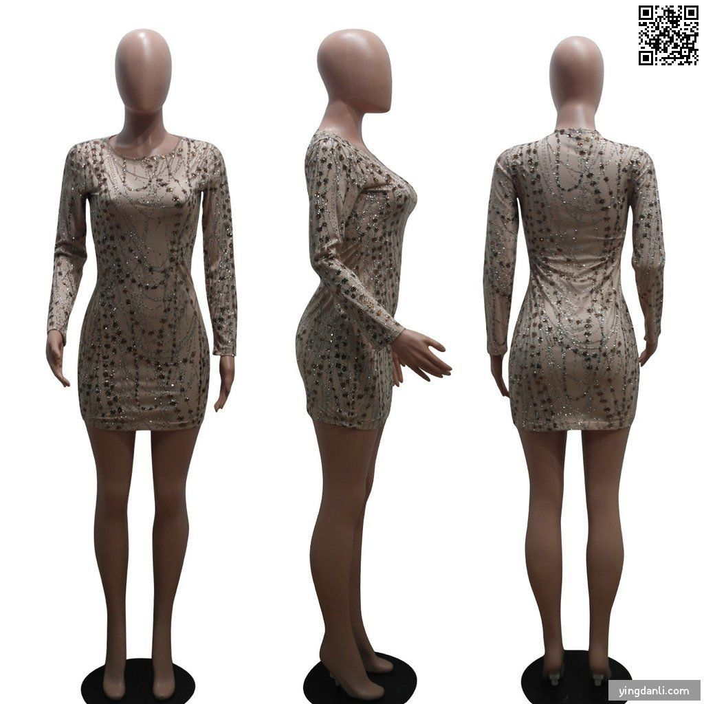 Sequined See-through O-Neck Long Sleeve Sexy Club Mini Dress - yingdanli.1