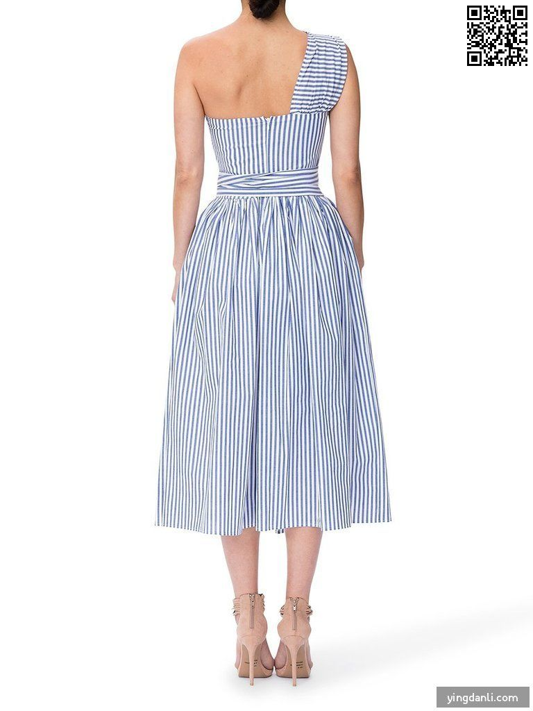Women's  Striped  Hight Waist  A-Line Skater Dresses - yingdanli.1