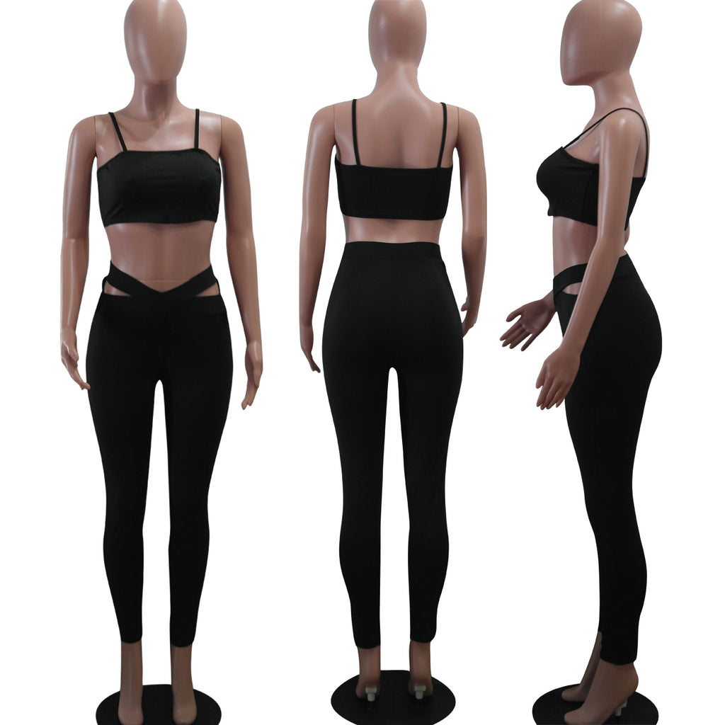 Women's Solid Color  Bodycon Yoga Two Pieces Set - yingdanli.1