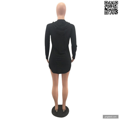 Black Sexy Club Dresses O-Neck Long Sleeve Short Hoodie Dress - sportinglifes