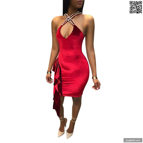 Backless Dresses Pearl Halter Ruffles Dress Criss-Cross Off Shoulder Sleeveless A-Line Club Dresses - sportinglifes