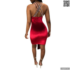 Backless Dresses Pearl Halter Ruffles Dress Criss-Cross Off Shoulder Sleeveless A-Line Club Dresses