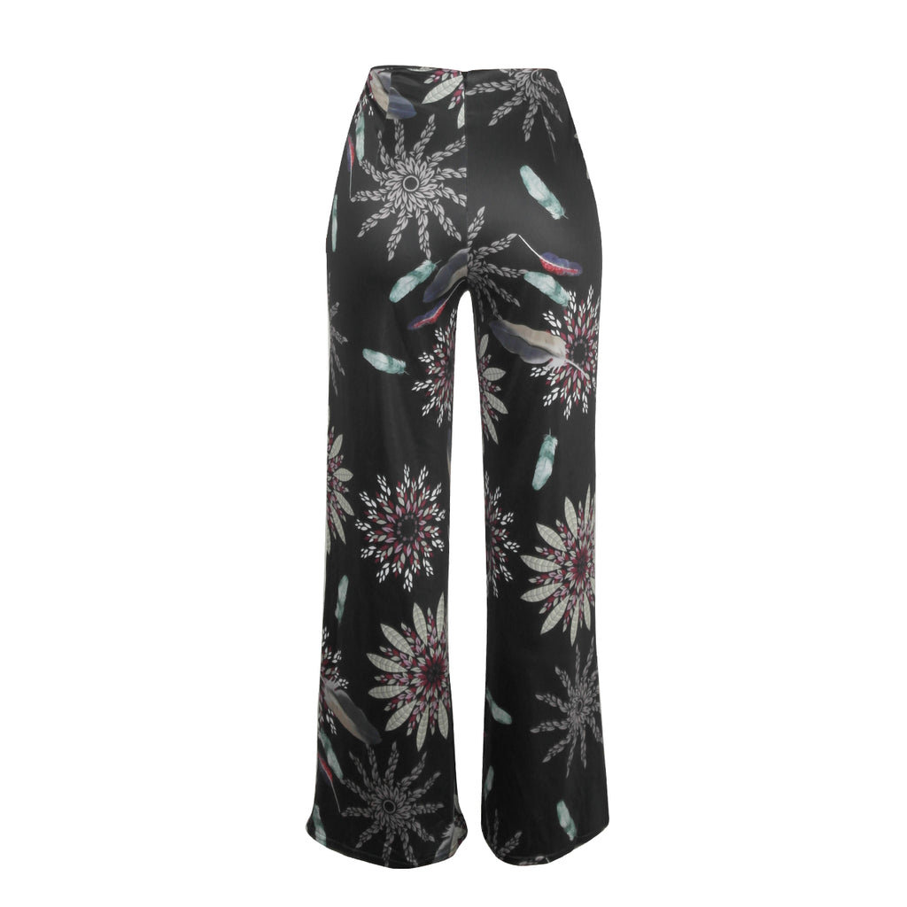 Womens Casual Printed Flat Wide Leg Pants with Fake Zippers - sportinglifes