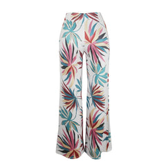 Womens Casual Printed Flat Wide Leg Pants with Fake Zippers - yingdanli.1