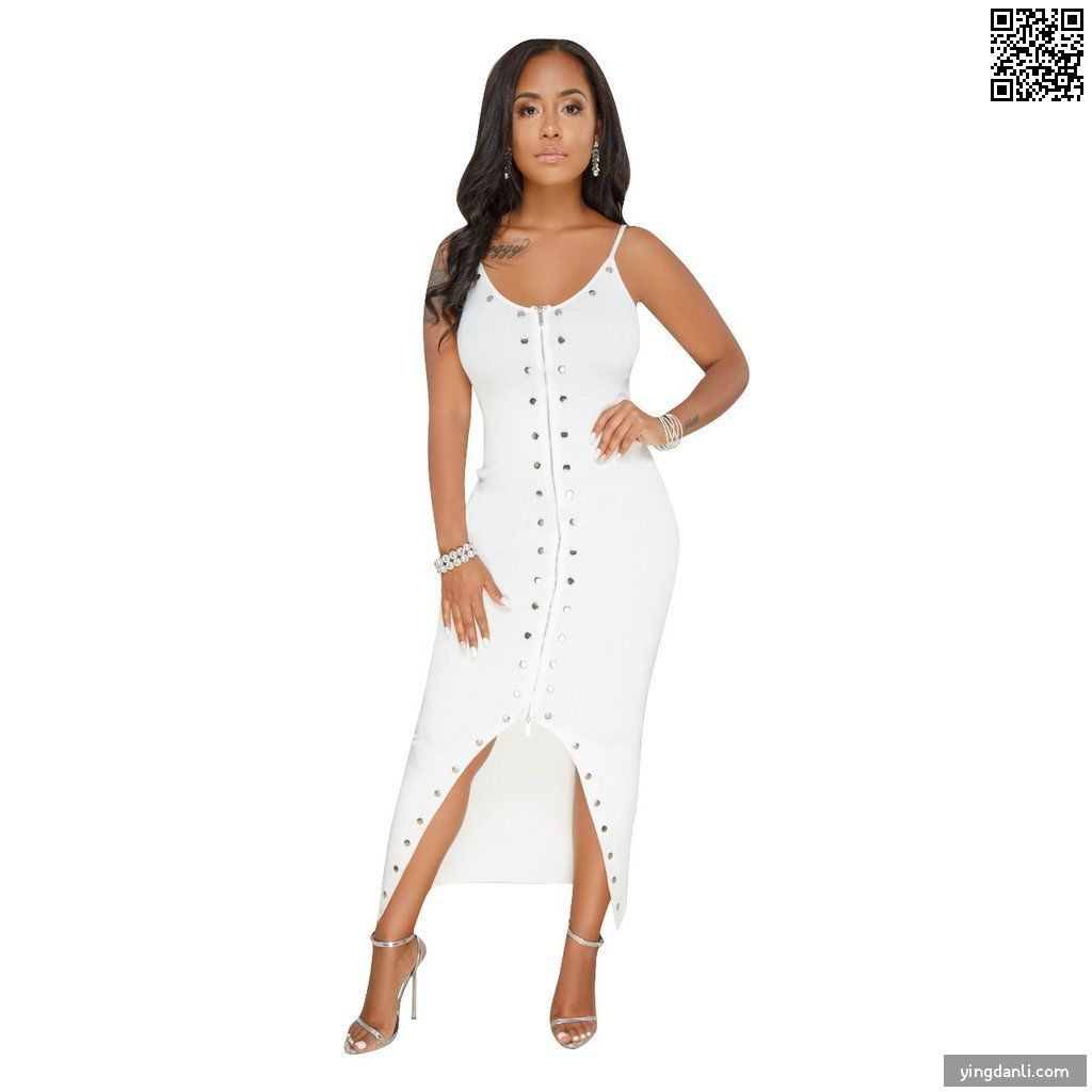 Sexy Zip front Sleeveless Step skirt Rivet Long Club Dresses - sportinglifes