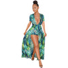 Image of Women's V Neck Floral Maxi Dress Overlay Rompers Jumpsuit - yingdanli.1