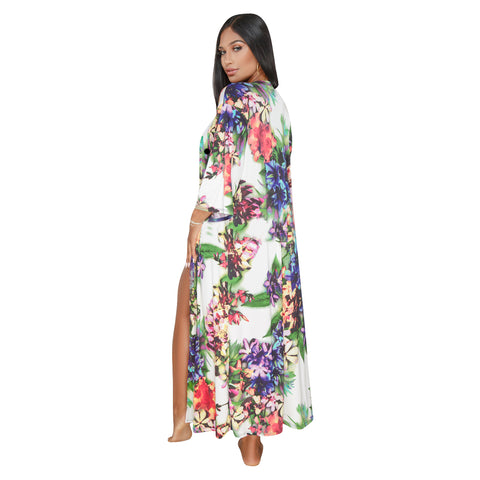 Women's Swimsuits Deep V-Neck Floral Print One-Piece Swimwear With Cover Up - yingdanli.1