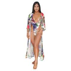 Women's Swimsuits Deep V-Neck Floral Print One-Piece Swimwear With Cover Up - sportinglifes