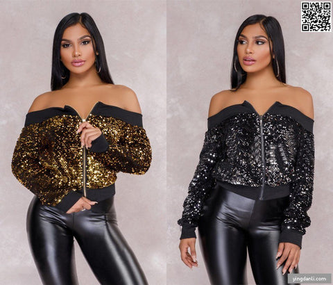 2019 New women fashion off sholder sexy jacket coat women's Bright pants - sportinglifes