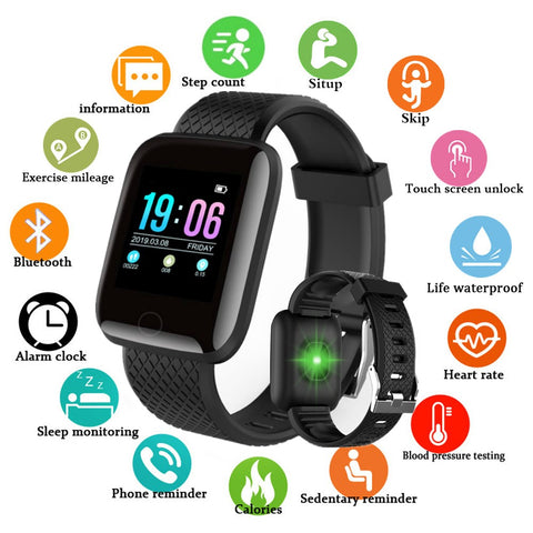 Waterproof Digital Smart Watch with Blood Pressure Heart Rate Monitor - yingdanli.1