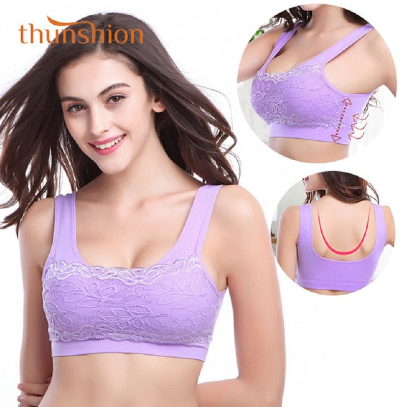 Womens Lace Sports Bra Breathable Widened Shoulder Straps