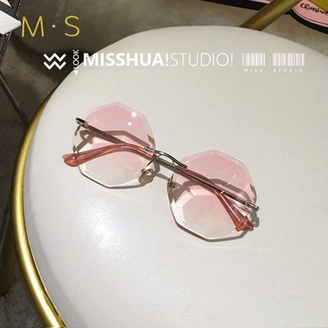 new round sunglasses women oversized  eyewear 2018 gradient brown pink rimless sun glasses - sportinglifes